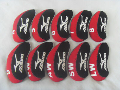 10x Golf Iron Covers for Mizuno Club Headcovers 4-LW Red&Black Soft Neoprene