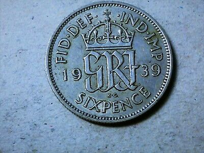 Great Britain 6 pence sixpence 1939 George VI Wedding coin gift silver WWII