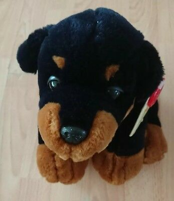 Simply Soft Collection Keel Toys Black Puppy Dog Rottweiler Cuddly Toy With Tag