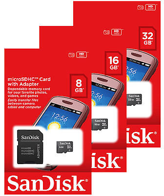 SanDisk 8GB 16GB 32GB Micro SD SDHC Class 4 Flash Memory Card Adapter