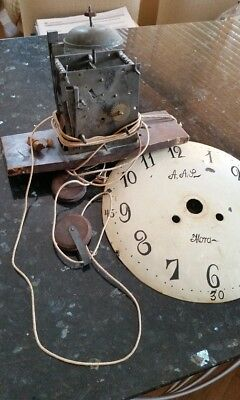 Swedish Long Case Clock mechanism and face - not tested