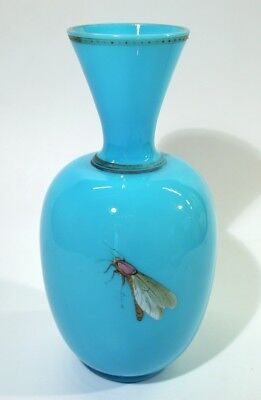 Rare 19th Century Antique Opaline Enamelled Turquoise Glass Insect Vase.
