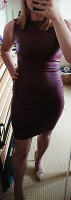 super sexy RARE burgandy/wine boohoo wet leather look bodycon dress size 8/10
