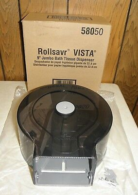 "Rollsavr Vista 58050 Jumbo Bath Tissue Dispenser 9"" Toilet Paper Holder w/ Key"