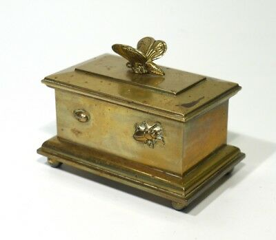 Antique Japanese Meiji Period Cast Bronze Insect Covered Trinket Box.