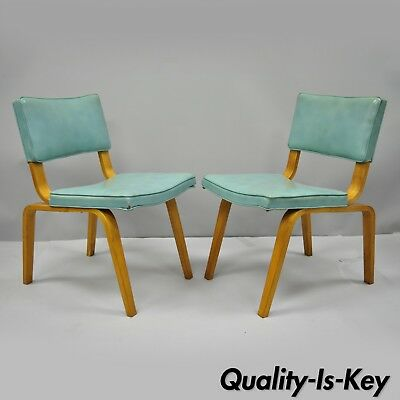 Vtg Pair Thonet Bentwood Aqua Blue Vinyl Dining Side Chairs Mid Century Modern