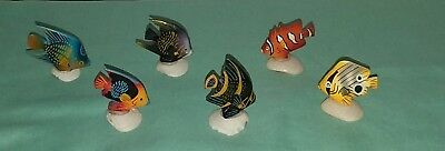 6 Hand Carved And Painted Wooden Fish On Shells