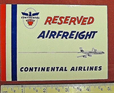 Continental Airlines, Vintage, Airfreight Sticker, FREE SHIPPING !!