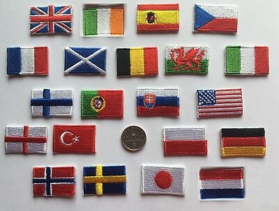 Tiny National Country Embroidered Flag Sew On/ Iron On Patch 3Cm X 2Cm