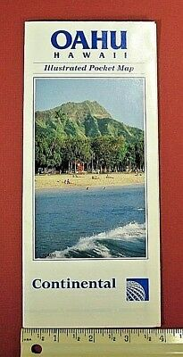 Continental Airlines, Vintage, 1992,OAHU, Hawaii, Pocket Map, Excellent Cond.