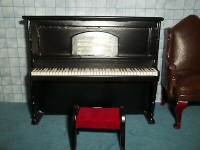 Upright  Piano With Stool - Black - Doll House Miniature