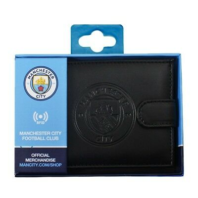 Manchester City Fc Debossed Crest Rfid Real Leather Football Sport Money Wallet