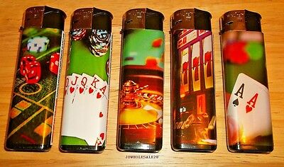 Lot Of 5 Assorted Casino Colorful Electronic Butane Refillable Lighters