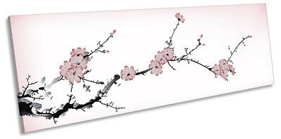 Pink Chinese Blossom Floral PANORAMA CANVAS WALL ARTWORK Print Art