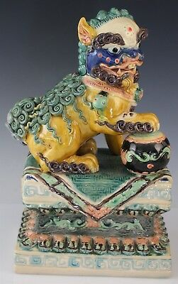 VTG Chinese Export Turquoise Colorful Glazed Ceramic Foo Dog Ball Sculpture