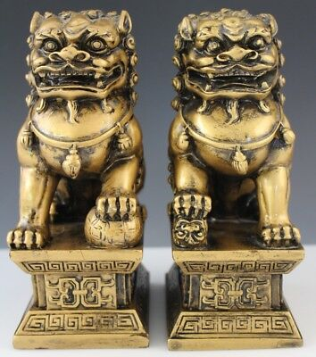 Pair Vintage Chinese Export Gold Tone HEAVY Foo Dog Ball Baby Foo Sculpture