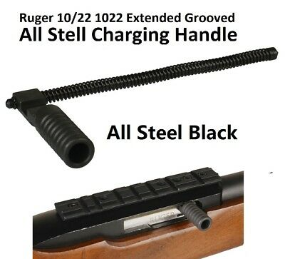 Smooth Ruger 1022 10-22 Extended Grooved Round Charging Handle All Steel Black