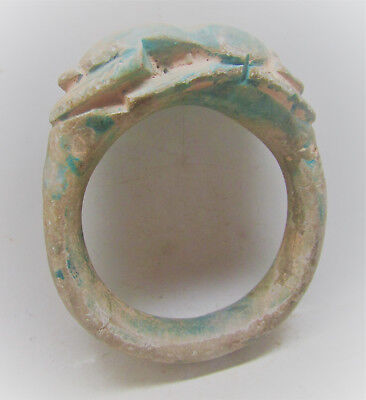 Beautiful Undated Egyptian Glazed Bracelet With Scarab On Top