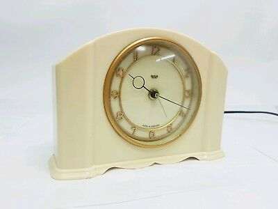 Smiths Sectric Art Deco Ivory Cream Bakelite Mantel Clock Working Perfectly