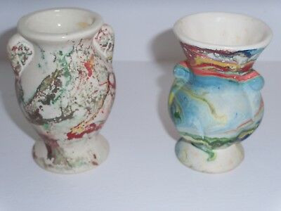 Lot of 2 Vintage Nemadji ?? Art Clay Pottery greens, blues, reds, multi-color