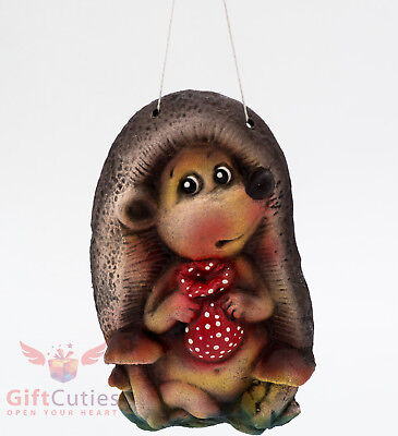 Clay figurine wall decor pendant Hedgehog souvenir handmade