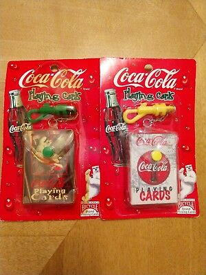 2 Coca Cola Mini Playing Cards Deck W/ Keychain Holder Bicycle