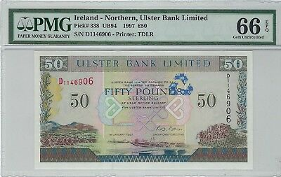 "Northern Ireland, 1997 50 Pounds P-338 PMG 66 EPQ   ""Ulster Bank Limited"""