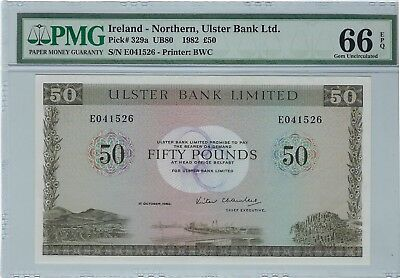 "Northern Ireland, 1982 50 Pounds P-329a PMG 66 EPQ   ""Ulster Bank Limited"""