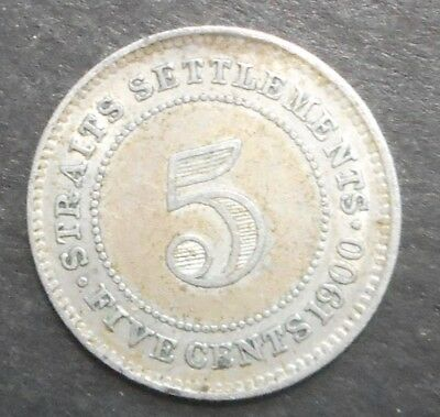 Straits Settlements  1900 Victoria 5 Cent  silver Coin aXF Great  Detail Harder