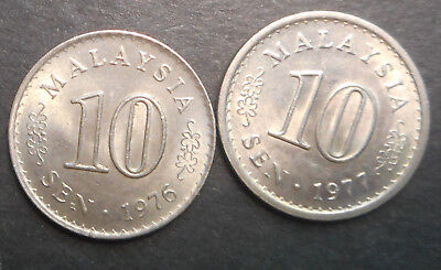 Malaysia  1976 1977  10 Cent   Coin  UNC Full mint  lustre (2)