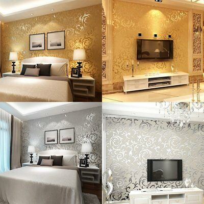 Victorian Damask Luxury Wallpaper 3D | Feature Wall Silver & Grey NEW