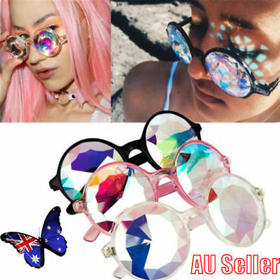 Kaleidoscope Round Crystal Lens Rave Festival Party EDM Sunglasses Glasses OD