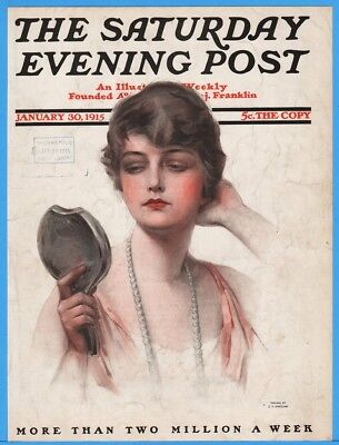 1915 Saturday Evening Post January 3 ZP Nikolaki Cover Only Pretty Woman Mirror
