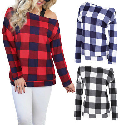 Casual Women Off Shoulder Striped Plaid Loose Tops Long Sleeve T Shirt Blouse