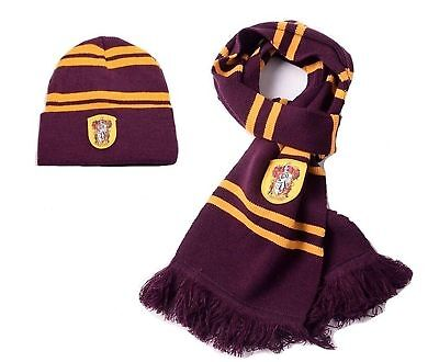 2pcs Harry Potter Gryffindor House Scarf & Winter Hat Cosplay Costume Xmas Gift