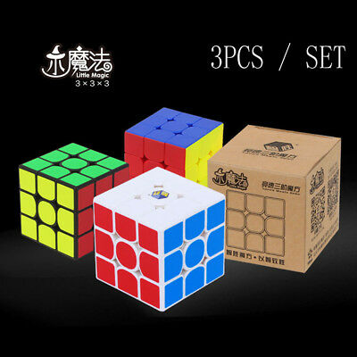 3PCS Set Yuxin Zhisheng Little Magic 3x3x3 speed cube Twist Puzzle Toy cube Gift