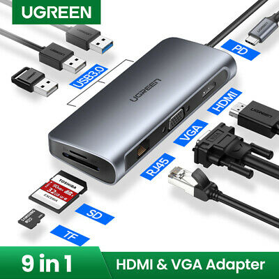 Ugreen USB C Hub Type C Adapter 3.1 HDMI VGA Converter SD Card Reader Fr Samsung
