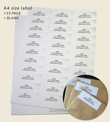 200 Sheet 33 up 70 x 25.4mm Peel & Paste Label A4 Office Mailing Address labels