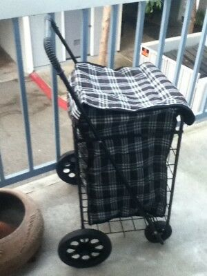 "UNIQUE PLAID 24""JUMBO LINER Utility Shopping Travel Cart Laundry Black Red White"