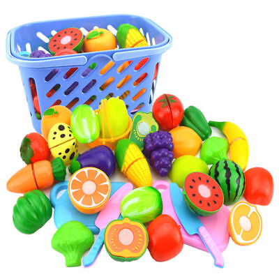 18Pcs Kid Child Pretend Role Play Kitchen Fruit Vegetable Food Toy Cutting Set D
