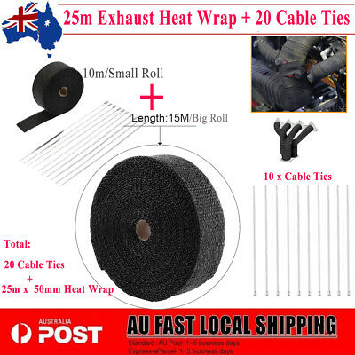 AU Local WRAP 50MM X 25M + 20 STAINLESS STEEL TIES 2000F Black EXHAUST HEAT