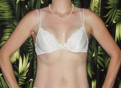 Vintage White Push Up Bra 34 B lace pin up clothing girl 1950s retro cleavage