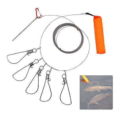 Stainless Steel 5 Snaps Lock Fish Buckle Live Fishing Stringer Belt Fish Tools