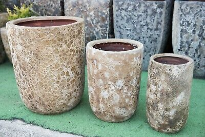 Outdoor Garden Patio Planter Pot Relic Round Cylinder Small Large Cream Stone