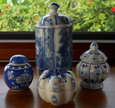 "4 Small Blue & White Porcelain Trinket Box, Jars & Canister - 2"" to 6 1/2"" China"