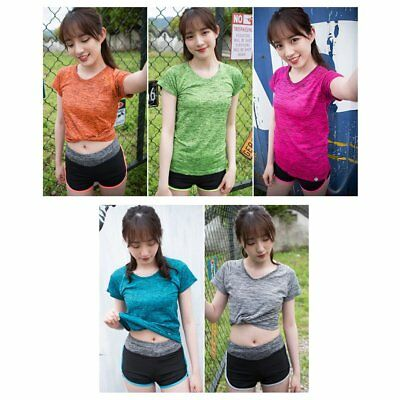 Thin short sleeves Loose and comfortable running Yoga Fitness T-shirt W0