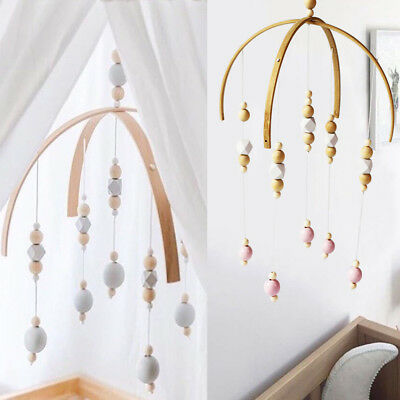Baby Crib Mobile Bed Bell DIY Toy Holder Arm Bracket Wind-up Wooden Beads Gift D