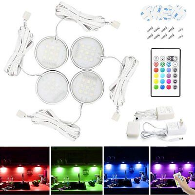 4PACK LED Under Cabinet RGB Light Recessed Kitchen Cupboard Showcase with Remote