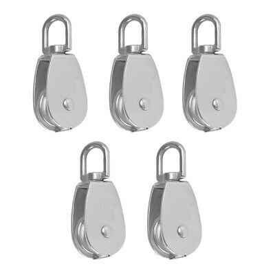 5pcs Block Tackle Stainless Steel Pulley Block Swivel Sheave Rope Wheel M15