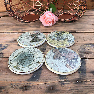 S/4 Unique World Map Vintage Antique Ceramic Drinks Table Mats Tile Coasters Set